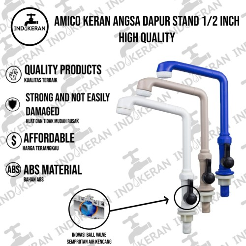 Foto Produk Kran Angsa Dapur Tancap AMICO PVC ( HIGH QUALITY ) - Putih dari INDOKERAN