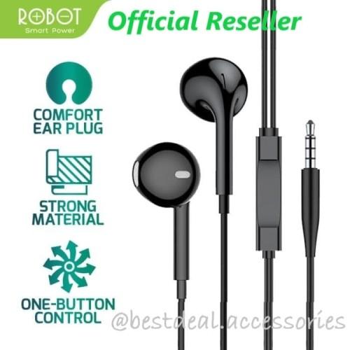 Foto Produk Robot RE10 Wired Bass Android iPhone Earphone Headset Headphone - Hitam dari bestdeal official