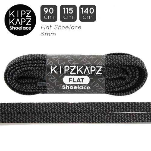 Foto Produk KipzKapz FS65 Black Grey Braid 90cm 115cm 140cm - Tali Sepatu Pipih dari KipzKapz