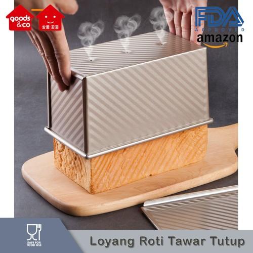 Foto Produk Loyang Roti Tawar Tutup Anti Lengket/ Toast Box NON STICK GOLD dari Goods & Co
