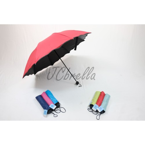 Foto Produk Payung Lipat 3D Magic / Dimensi Lapisan Hitam ANTI UV ( Gelombang ) - Biru dari JCbrella