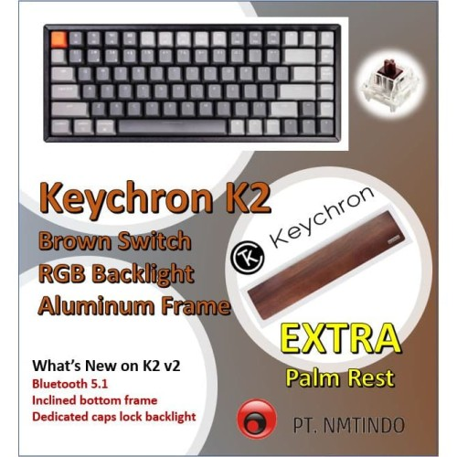 Foto Produk Keychron K2 v2 Brown Switch RGB Backlight Aluminum Frame + Palm Rest dari PtNmtindo