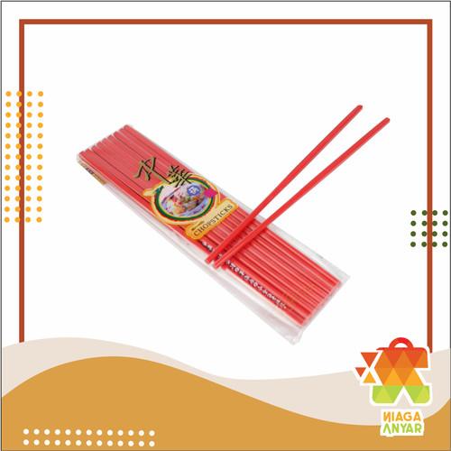 Foto Produk NA Sumpit Melamin Isi 10 Pasang / Sumpit Mie / Melamine Chopsticks - Merah dari Niaga Anyar Online Shop