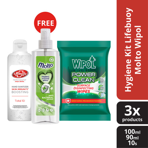 Foto Produk Lifebuoy Molto Wipol Kit - Hand Sanitizer Fabric Hygiene and Wipes dari Unilever Official Store