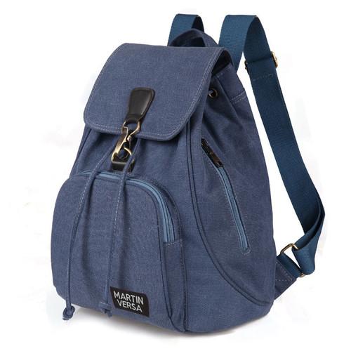 Foto Produk TR5 Tas Ransel Backpack Wanita Kanvas sekolah slingbag sling bag cewek - Blue dari Martin Versa