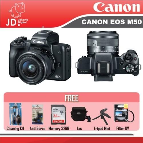 Foto Produk Jakarta Digital Canon EOS M50 Kit EF-M 15-45mm Paket - Hitam dari Jakarta Digital
