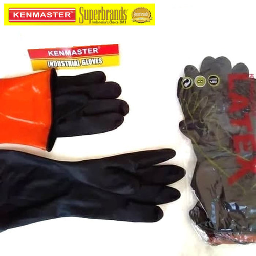 Foto Produk Kenmaster Sarung tangan Karet Latex ukuran XL - Hitam dari Gold-Mart
