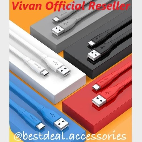 Foto Produk Vivan CBC100S Type-C 1m Cable Data - New Vivan CBC100 USB-C 100cm - Hitam dari bestdeal official