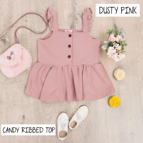 Foto Produk BAJU DRESS ANAK PEREMPUAN, CANDY RIBBED TOP WARNA DUSTY PINK - 6 thn dari uWa_store