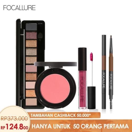 Foto Produk FOCALLURE Bundle Eyeshadow Eyebrow Brush Pen Cream Blush On Lipstik - Tanpa FA24-16 dari beauty entity