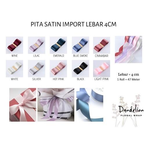 Foto Produk PITA SATIN IMPORT KADO RIBBON BESAR 4CM PREMIUM PER METER - Lilac dari Dandelion Floral Wrap