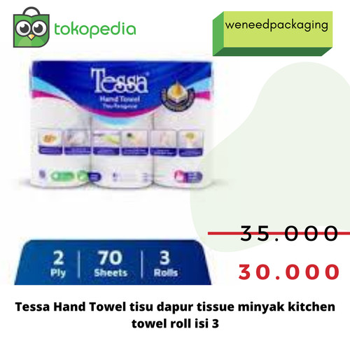 Foto Produk Tisu Tessa Hand Towel / Tissue dapur / tissue minyak isi 3 roll dari weneedpackaging