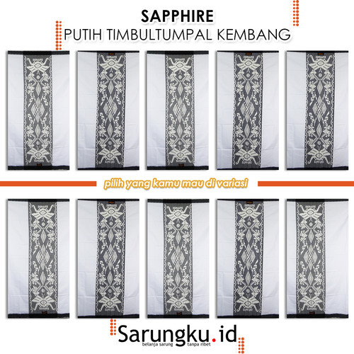 Foto Produk SARUNG SAPPHIRE PUTIH TIMBUL TUMPAL KEMBANG (PTTK) - Cover dari SarungkuID