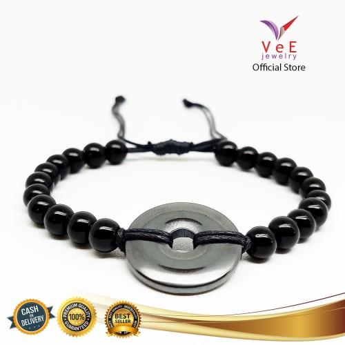 Foto Produk Gelang Batu Giok China Asli Blustin Donat VeE Gelang Tali Pria Wanita dari Vee Jewelry