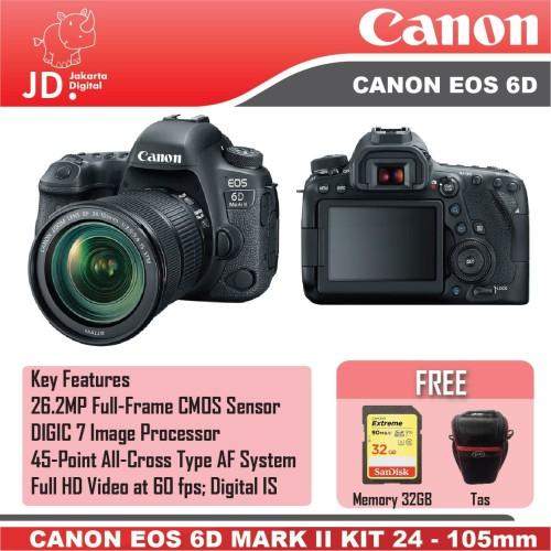Foto Produk Canon EOS 6D MARK II EOS 6D II kit 24-105mm F4L IS II PAKET 2 dari Jakarta Digital