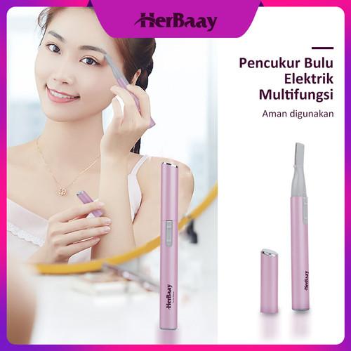 Foto Produk Alat Cukur Alis Elektrik hair remover Electric Portable - Merah Muda dari HerBaay official Store