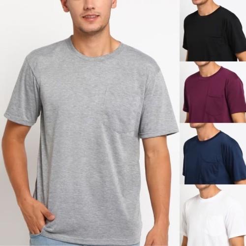 Foto Produk POCKET Kaos Polos Saku Pocket tees tshirt - ABU MISTY, XL dari kayser official