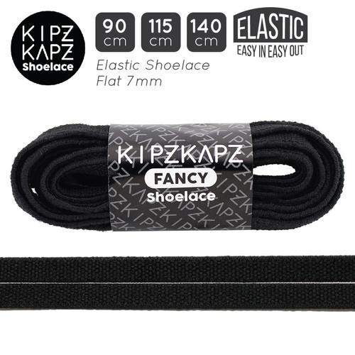 Foto Produk KipzKapz XS36 Elastic Black 90cm 115cm 140cm -Tali Sepatu Pipih / Flat - 90cm dari KipzKapz