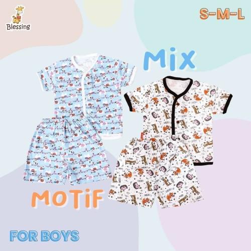 Foto Produk Blessing Babywear-baju tangan pendek dan cln pendek bayi boys SZ:S-M-L - S dari BLESSING Babywear