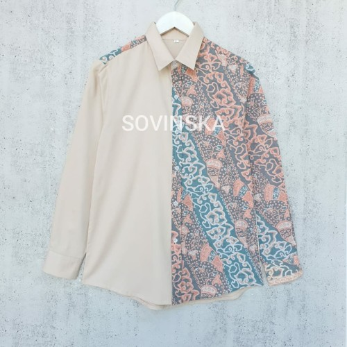 Foto Produk Atasan Kemeja Batik Pria Cream - Ld 116 XL dari Sovinska