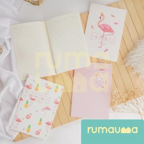 Foto Produk RUMAUMA Buku Catatan Tulis Bergaris Notebook Diary Agenda A5 Lucu Unik - FLAMINGGO KING dari Rumauma