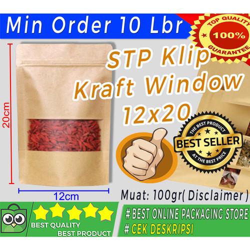 Foto Produk STANDING POUCH KLIP KRAFT WINDOW/PLASTIK BERDIRI JENDELA 12X20CM dari Jaya Plastik