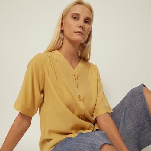 Foto Produk Grosir Cammomile 2008003 SF1181 atasan kemeja lengan pendek wanita - Yellow, all size dari Cammomile FashionLine