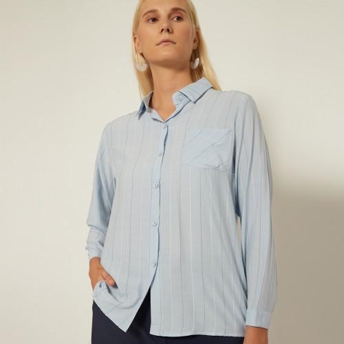 Foto Produk Cammomile 2008010 SF1371 atasan kemeja lengan panjang wanita - Blue, all size dari Cammomile FashionLine