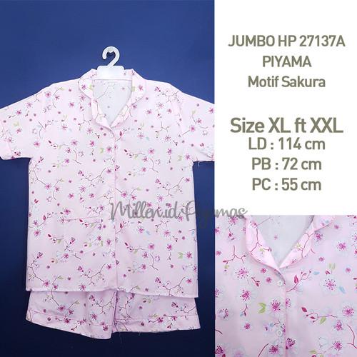 Foto Produk BAJU TIDUR size XL fit XXL SAKURA Katun Japan JBHP 27137 - Merah Muda dari Millen Collection