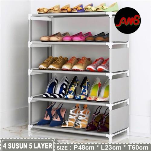 Foto Produk Rak sepatu portable Tempat sendal Shoes rack 4 susun 5 layer - Abu-abu dari AMSLILY