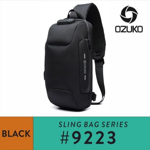 Foto Produk OZUKO 9223 Tas Sling Bag Pria Tas SlingBag Pria ANTITHEFT Tas Pria - Hitam dari Ozuko Official Store