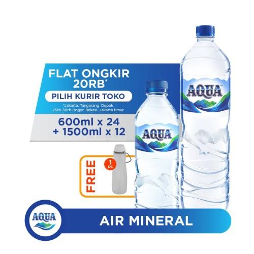 Foto Produk AQUA Air Mineral 24x600ml & 12x1500ml FREE Water Carrier dari AQUA Official Store