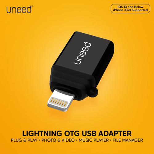 Foto Produk UNEED Lightning OTG USB Converter iPhone 7 8 X 11 12 iPad Plug & Play dari miacc