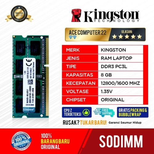 Foto Produk RAM KINGSTON SODIMM DDR3 8GB PC 12800 dari ACE COMPUTER 22