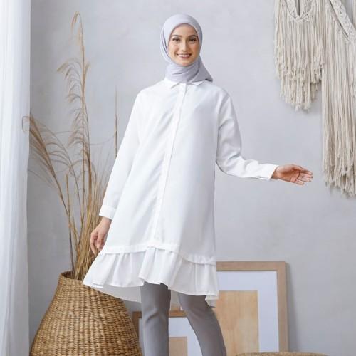 Foto Produk Wulfi Atasan Kemeja Tunik Essential White - Ukuran 2 L-XL dari Wulfi
