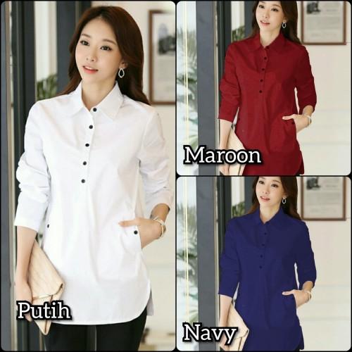 Foto Produk kemeja cewek putih rapi baju hem pakaian wanita rumahan dan kantoran dari Rifa t-shirt