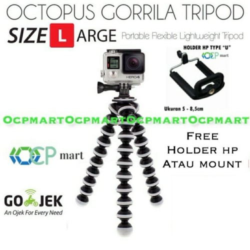 Foto Produk Octopus Gorilla LARGE Size Tripod with Mount Gorillapod Gopro Xiaomi - bonus HOLDER HP dari ocp mart