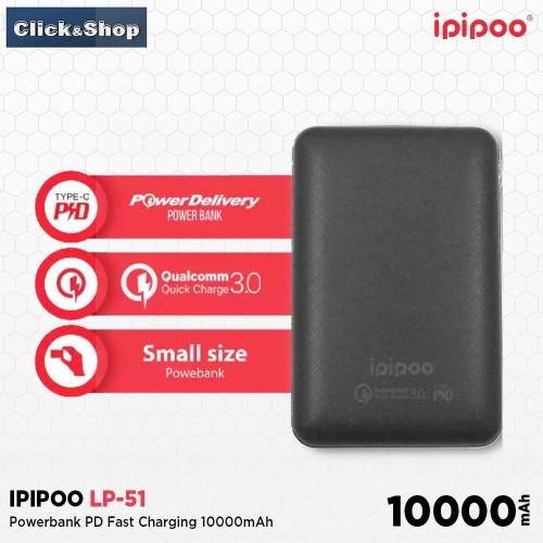 Foto Produk Ipipoo Powerbank 10000mAh Fast Charging with Type-C & QC3.0 [LP51] dari Click&Shop