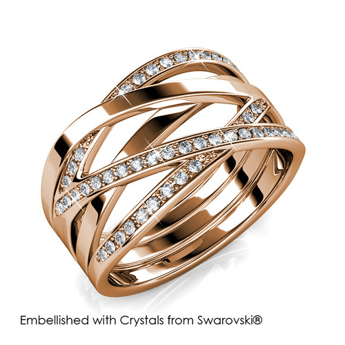 Foto Produk Criss Cross Ring - Cincin Crystal Swarovski by Her Jewellery - Rose Gold, 6 dari Her Jewellery
