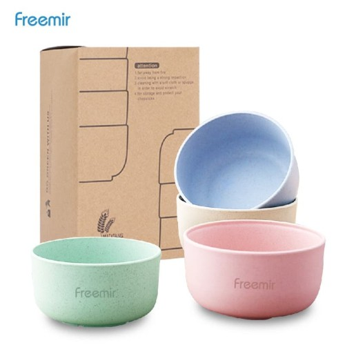 Foto Produk Freemir Mangkok Wheat Straw/Mangkuk Makan Bowl Set 4pcs warna warni dari freemir Official Store