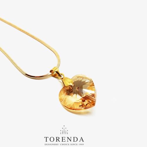 Foto Produk Torenda Kalung Liontin Love Pendant with Swarovski - Emas dari TORENDA