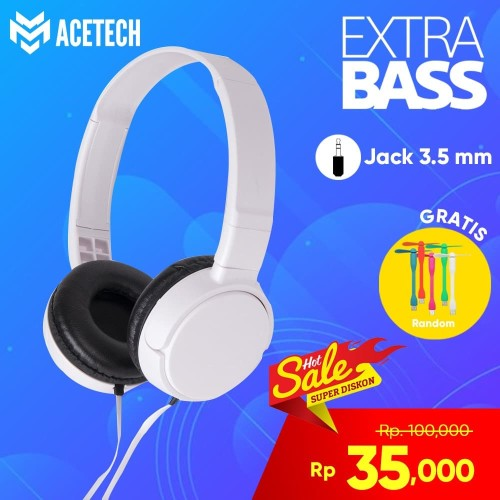 Foto Produk Acetech Headphone Headset Handfree Earphone Extra Bass J-08 With Micro - Merah dari Unitech Official