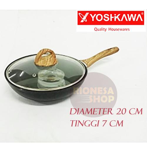 Foto Produk Yoshikawa Wok Pan 20 cm 24 cm Marble Induksi Gagang Kayu Tutup Kaca - 20 cm dari Rionesa Shop
