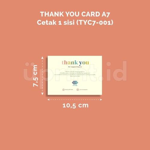 Foto Produk THANK YOU CARD | 1 SISI | Ukuran A7 ( 7.5 x 10.5cm) | TYC7-001 dari Uprint.id