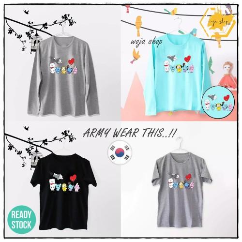 Foto Produk T-Shirt BTS BT21 / Tumblr Tee BT21 Wanita Lengan Pendek & Panjang - Hitam, WANITA PENDEK L dari woja shop