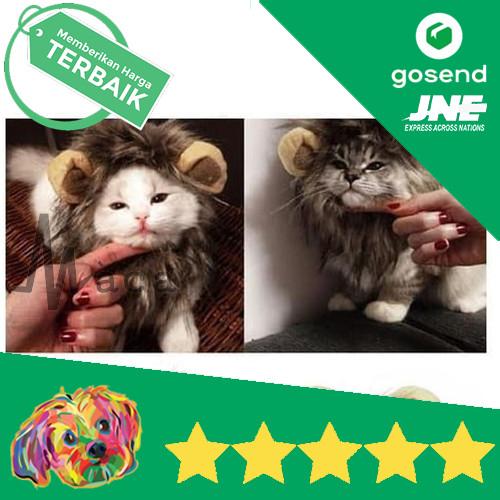 Foto Produk Wig Bandana Telinga Rambut Singa Kucing Anjing Pet Dog Cat Fashion - S dari Maca Store