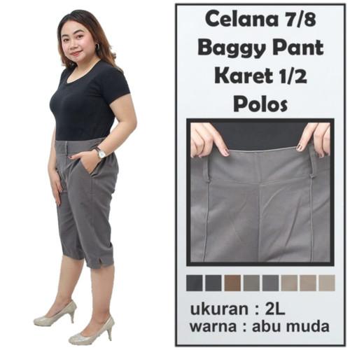 Foto Produk Celana Pendek 7/8 Wanita Jumbo Katun Stretch - abu muda, All Size dari BATIK DUA PUTRI