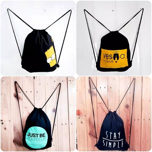 Foto Produk (4) String Bag Tas Serut Ransel KPOP / BTS / EXO / Bahan Drill Halus - Vespa dari Raja Tas Grosir