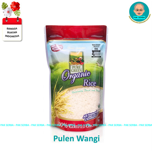 Foto Produk Beras Organik Pure Green Pulen Wangi Fragrant Rice (1kg) dari Pak Serba