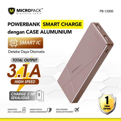 Foto Produk MicroPack Power Bank Li-Polymer 12000 mAh 2 Ports P12000 - Merah Muda dari Micropack Official Store
